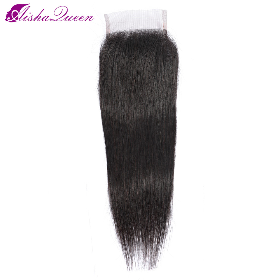 Brazilian Closure Human-Hair Straight Aisha-Queen Free/middle/three-part 4x4 8--20-natural-Color