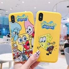 JAMULAR Cartoon SpongeBob Patrick Phone Case For iPhone 7 XS MAX X XR 6 6s 8 Plus Silicone Soft Back Cover Fundas