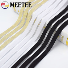Meetee 10yards 5cm/9cm Gold Silver Glitter Transparent Elastic Band Webbing DIY Hooked Pants Belt Craft Sewing Accessories BD305