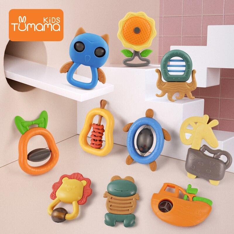 Tumama 4~10pcs Baby Rattles Toys Animal Music Hand Shake Bed Bell Newborns Cute Hanging Toy