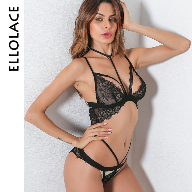 Ellolace Sexy Bra Set Transparent Lace Underwear Set Hollow Out Harness  Lingerie Women Strappy Bra and Brief Sets ac6e8d4c8