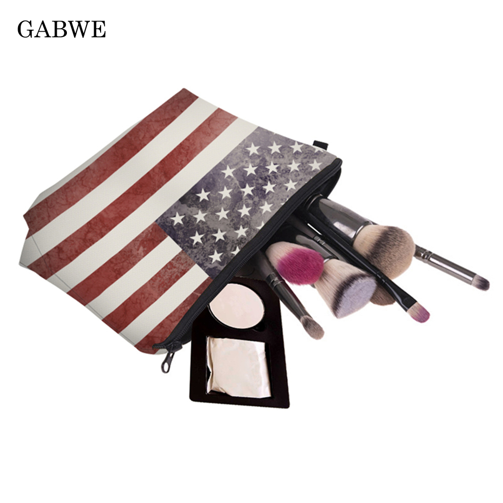 GABWE 3D Printing American Flag Pattern Make Up Bags Organizer Makeup Tas Beauty Cosmetics Bags Portable Toiletry Kosmetik Pouch