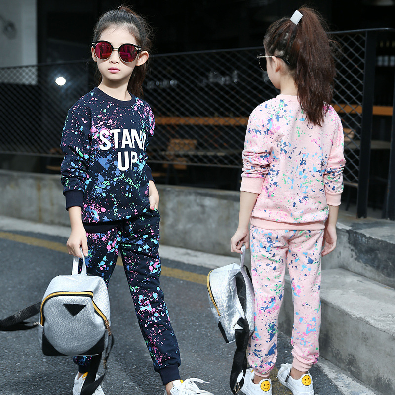 Girls Hip Hop Clothing Set New Fashion Brand Graffiti printing Sport Suits Sweatshirts+sports trousers Pants Clothes For Girl women bag set top handle big capacity female tassel handbag fashion shoulder bag purse ladies pu leather crossbody bag
