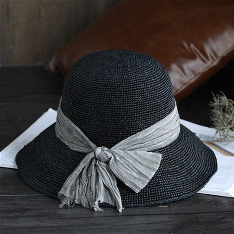 Lafite cappello di paglia femminile del sole di estate visiera versione Coreana della personalità retrò cappello da sole pieghevole del cappello pescatore selvaggio marea 186