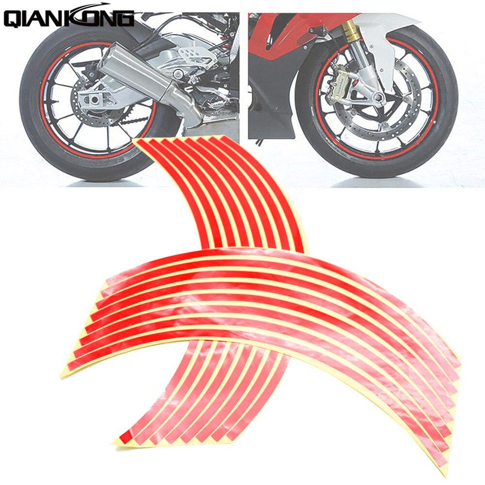 17 Inch Reflective Car Motorcycle Sticker Motor Car Wheel Tire Sticker Reflective Rim Tape For YAMAHA YZFR1 XJR1300 HONDA CRF CR