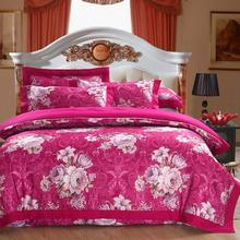 2019 Floral Rose Pink Flowers Jacquard Silk Cotton Bedlinens Queen King Size Duvet Cover Set Bedsheet Pillowcases