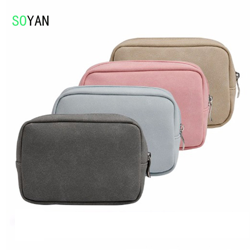 Mouse Charger USB Cable Bag Digital Storage Bag For Macbook iPad Laptop Soft PU Leather Bag Pouch Adapt Mouse Case & Power Bag
