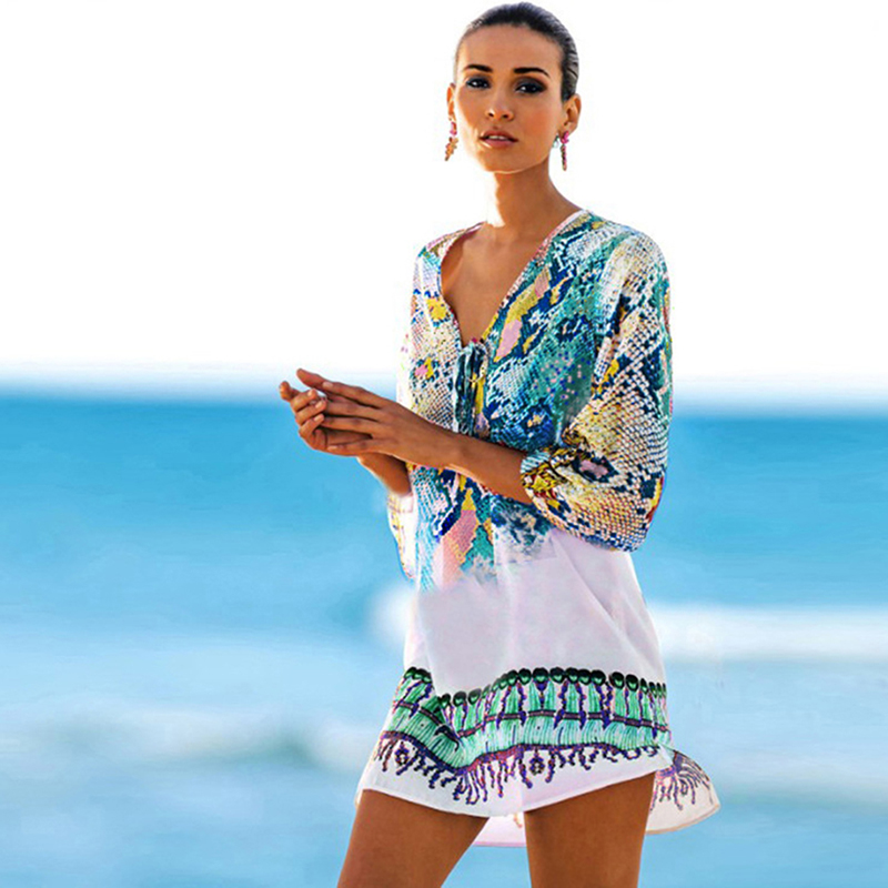 2019 Summer New Women Dress Fashion Color Snake Print Chiffon Dress Beach Blouse Bikini Swimsuit Women Beach Dress