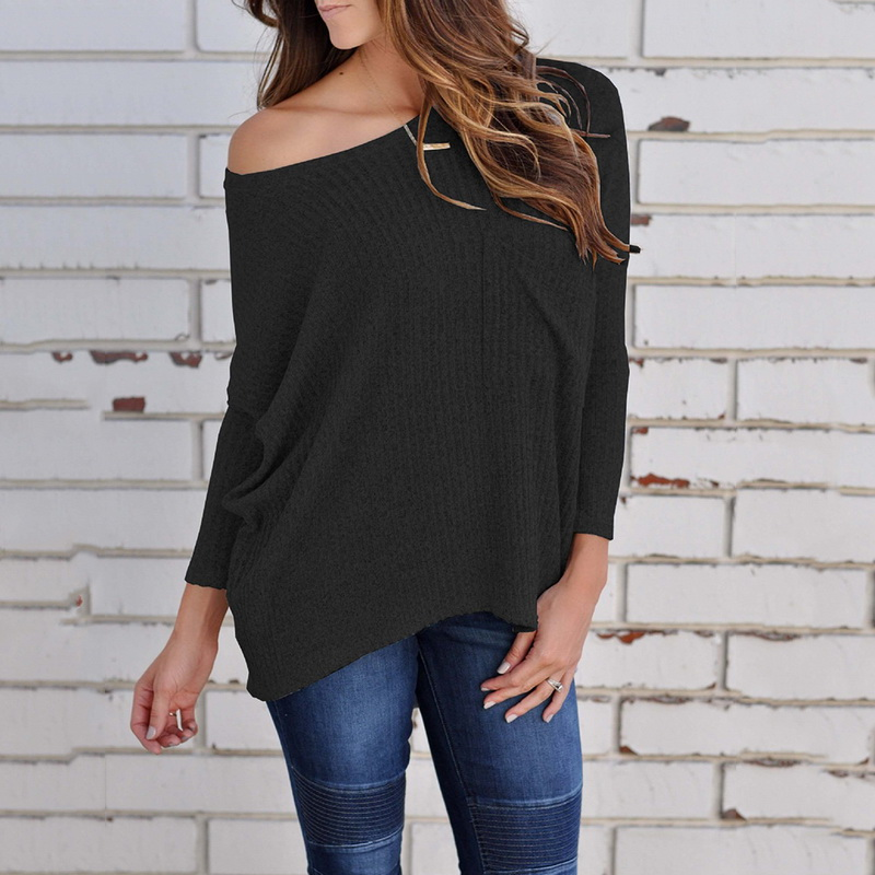 Laamei Wome Off Shoulder Tee Tops Thin Sweater Female Casual T-shirt Fashion Sexy Solid Knitted T-shirts Autumn Spring 2018