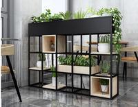 New American iron art shelf low lattice shelf floor bookshelf green flowers shelf restaurant cafe partition screen