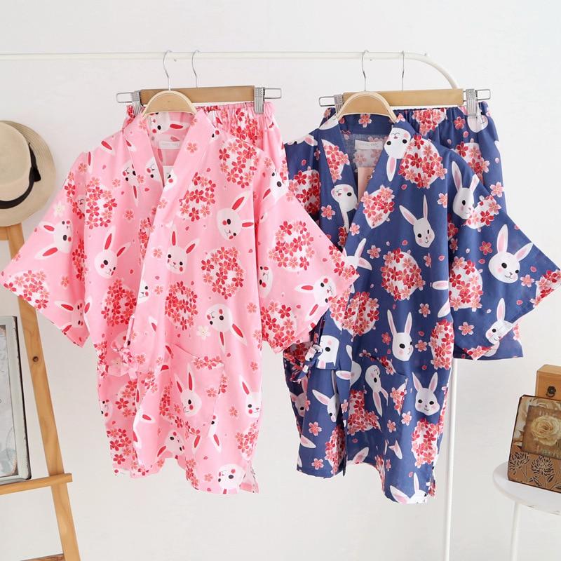 Summer Pijamas Women Japanese Pajamas Sakura Rabbit Print Short Sleeve Kimono Robe and Shorts Lounge Wear Spa Bathing Clothes