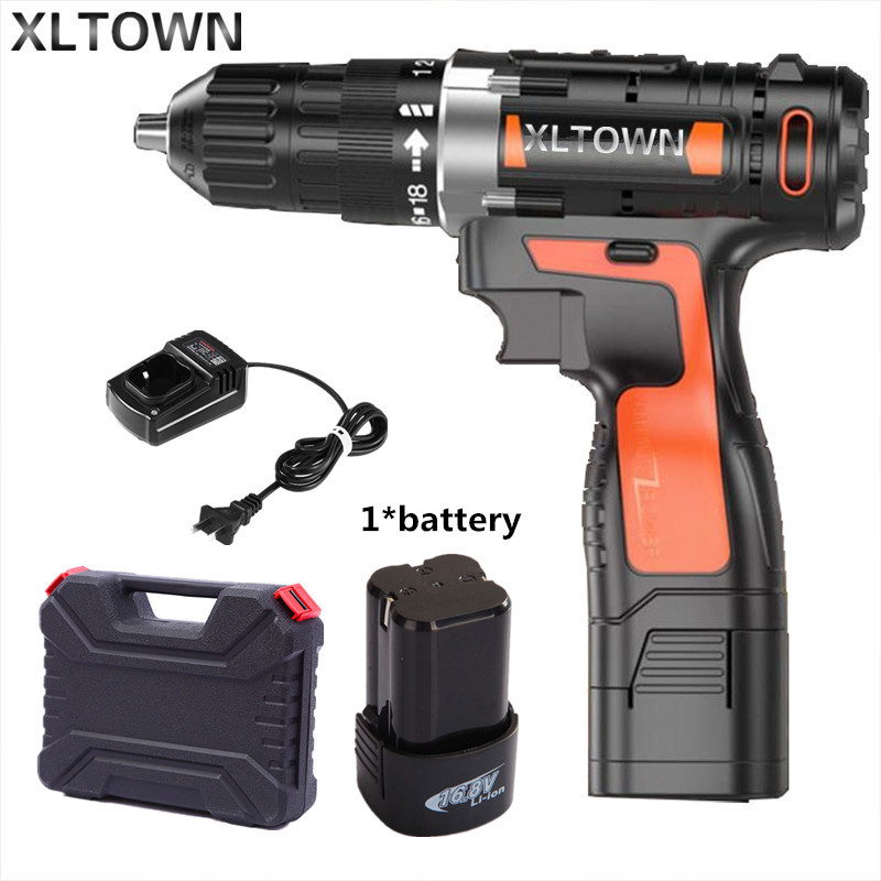 Xltown 16.8v Cordless Mini Electric Drill with a plastic box Multi-energy lithium battery  electric screwdriver power tools footprint reading library 3000 alternative energy [book with multi rom x1 ]