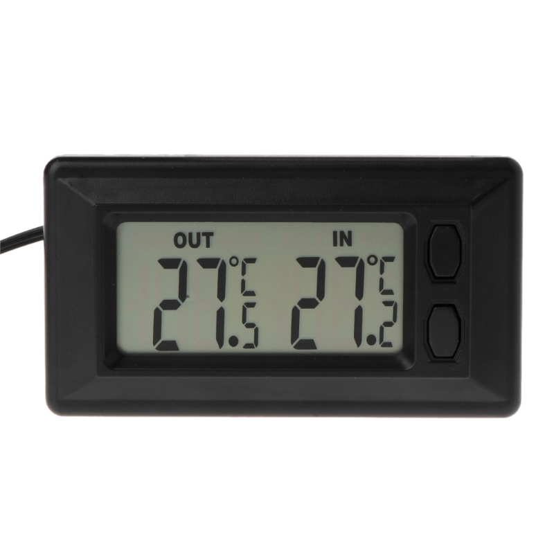 Indoor-Outdoor Thermometer Auto A//C Digital LCD Display in Out Clock for Automotive Car Home Vehicle