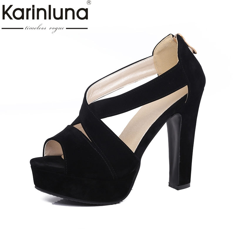 Karinluna Wholesale Large Size 32-43 Flock Upper Sandals Women Shoes Summer High Heels Party Wedding Bride Shoes Woman