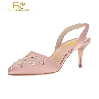 FSJ Women Shoes Ladies Pumps Blush Pointy Toe Rhinestone Stiletto Heel Slingback 2108 Spring Autumn Big Size Shoes41 42 43