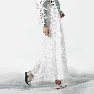 Image 3 - [EAM] 2020 Spring New Fashion Black White Tassels Stitching Big Pendulum Long Type Half body Skirt Women YC237