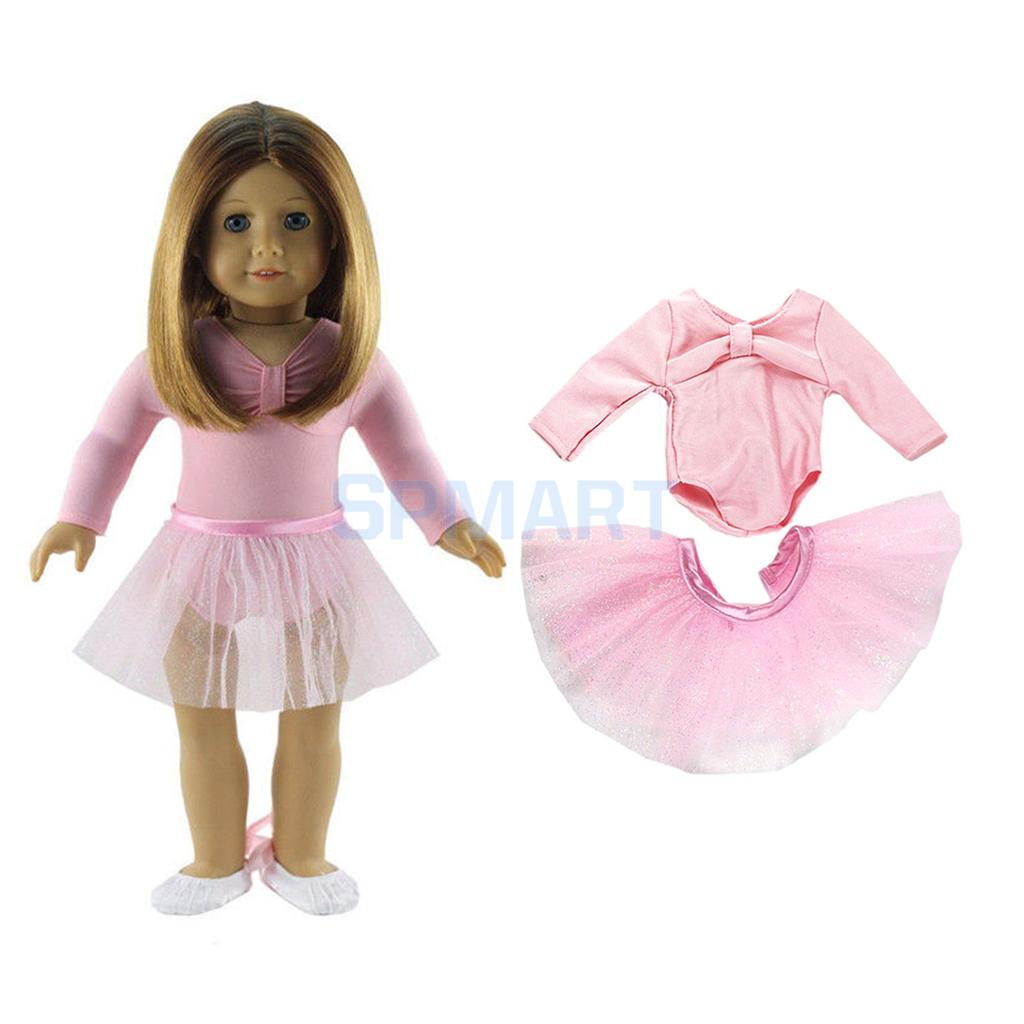 MagiDeal Pink Fashion Skinny Ballet Dance Suit Skirt Dress for 18 inch American Girl Dolls for Children Toy Great Gift Accessory