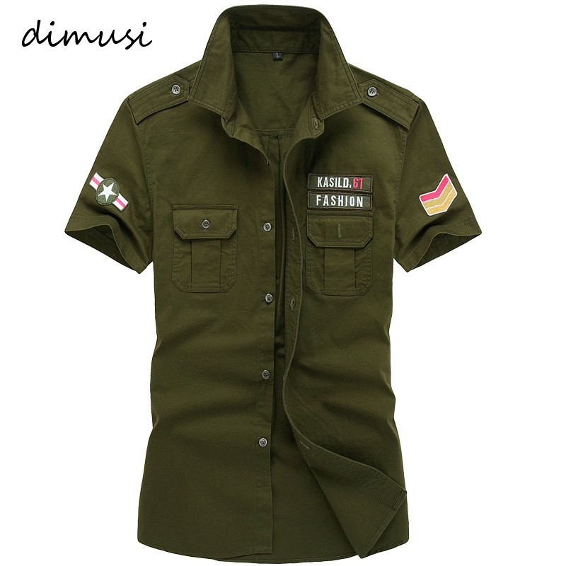 DIMUSI Summer Mens Shirts Male Army Military Camouflage Short Sleeve Cotton Shirts Men Business Shirt Brand Clothing 6XL,TA090