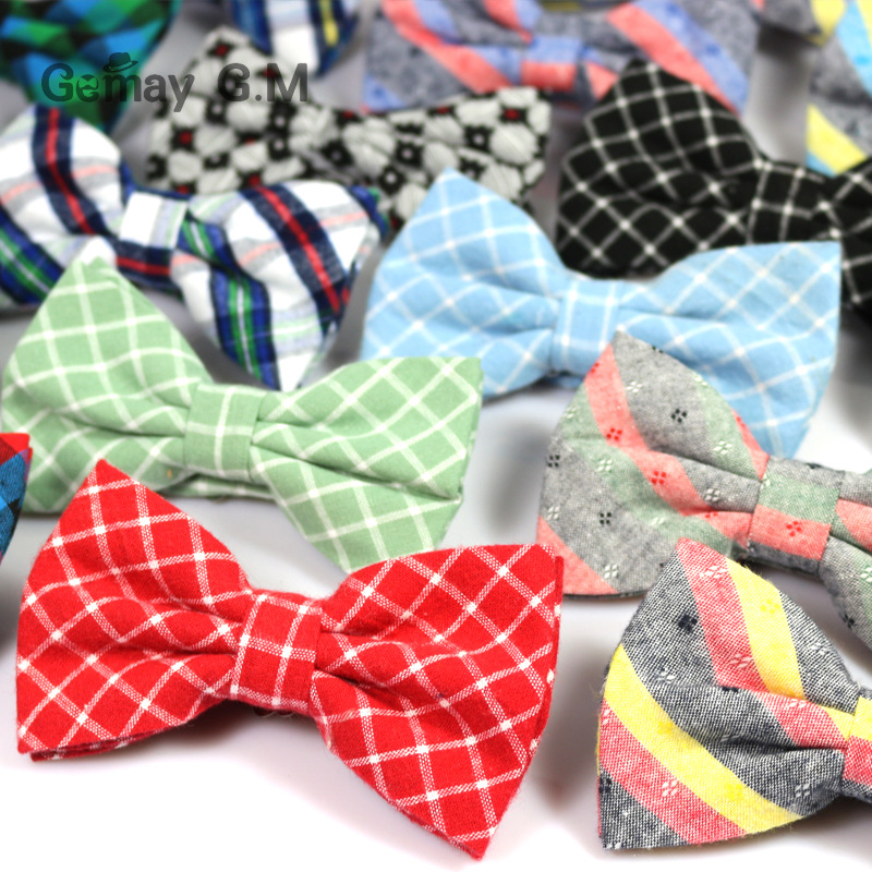 Mens 100% Cotton Bowtie casual fashion cotton Plaid bow ties for Man oblique Candy-colored party of England Bow tie