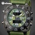 INFANTARIA Relógios de Quartzo Homens De Luxo Da Marca Estilo Camo Verde Nylon Analógico-Digital À Prova D' Água Relógio Luminoso Relógio de Pulso Relogio masculino