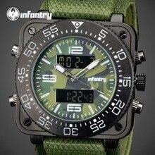 INFANTRY Quartz Watches Luxury Brand Men Camo Style Waterproof Green Nylon Analog-Digital Wrist Watch Luminous Relogio Masculino