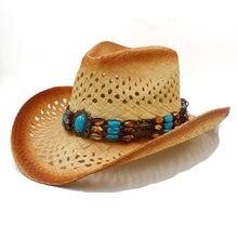 Женская и мужская соломенная западная ковбойская шляпа с панк кожаной лентой ручной работы Плетение пляж Богемия солнце Sombrero Cowgirl джаз шляпа размер 58 см