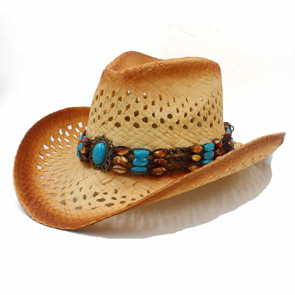 a9edf49aaf6a8 Women Men Straw Western Cowboy Hat With Punk Leather Band Handmade Weave  Beach Bohemia Sun Sombrero