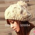 Frete grátis, 1 pcs, 2016 nova versão Coreana do chapéu da abóbora mão-de malha chapéus outono e inverno gorro de Lã, chapéu Quente, Multicolor