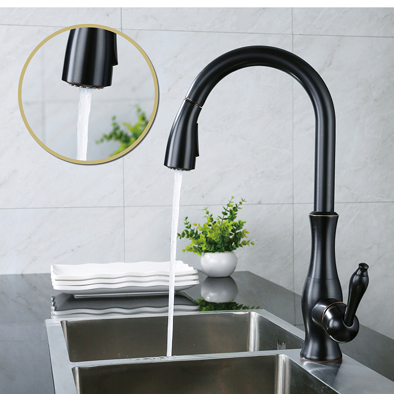 LOY Modern Lever High Arc Pulls Down The Kitchen Faucet With Retractable Pull Rod, Rotating Nozzle Polished Brass Oil Rubbed