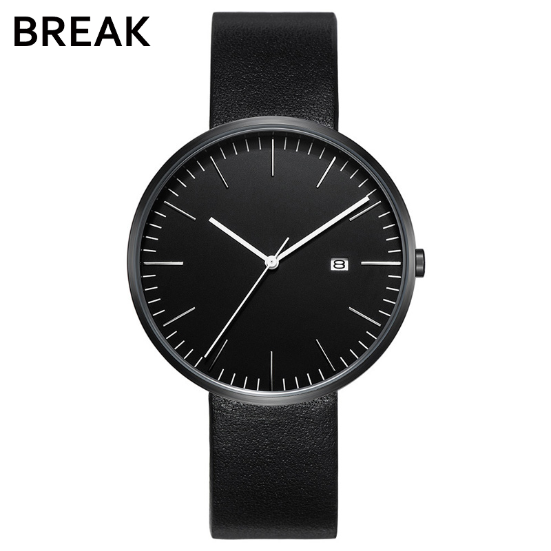 BREAK Brand Simple Women Men Quartz Watch Genuine Leather Lovers Clock Luxury Female Male Watches Sport relogio masculino longbo brand genuine leather lovers quartz watch simple style women men casual watch waterproof relogio masculine feminino clock