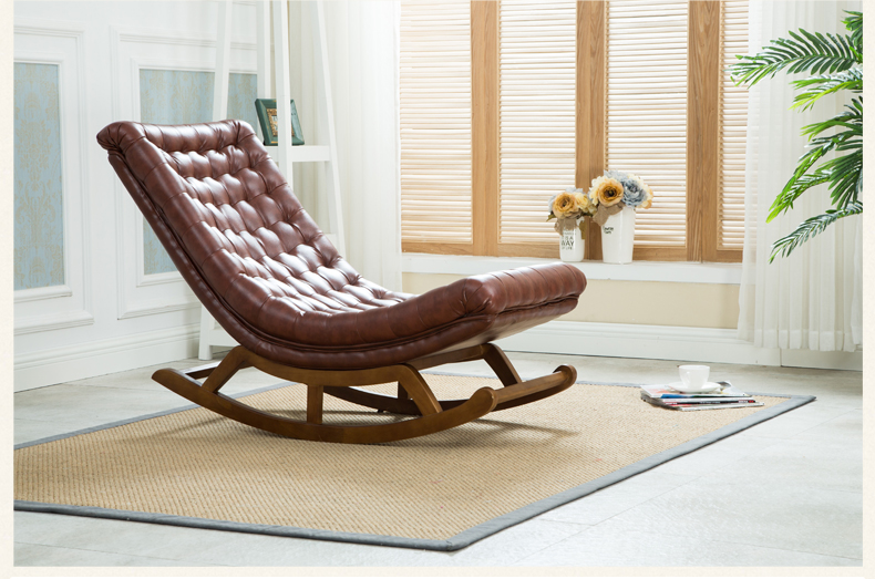 Luxe Lounge Stoel.Modern Design Rocking Lounge Chair Leather And Wood For Home