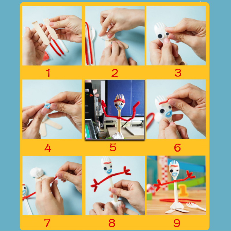 14cm Toy Story 4 DIY Forky Buzz Lightyear Cartoon Woody Jessie Action figure collectible Doll Educational toys in Action Toy Figures from Toys Hobbies