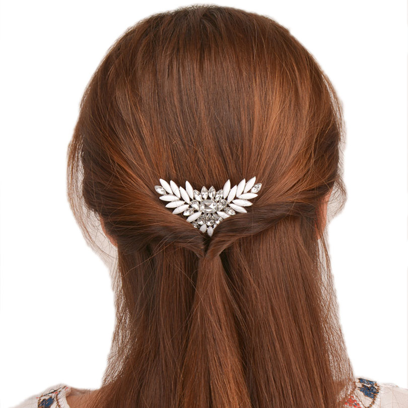 Haimeikang Sparkling Crystal Wedding Hair Accessories Fashion Hair Combs Bridesmaids Tiara Trendy Hair Clip For Women   Headwear