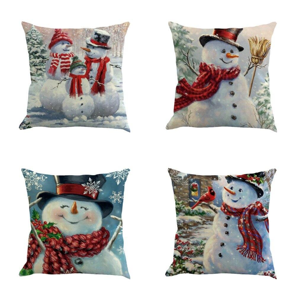 4 pièces noël décoration de la maison coussin couvre 45*45 CM Lien mélange taie d'oreiller bonhomme de neige imprimé décoratif pour canapé-lit chaise de voiture