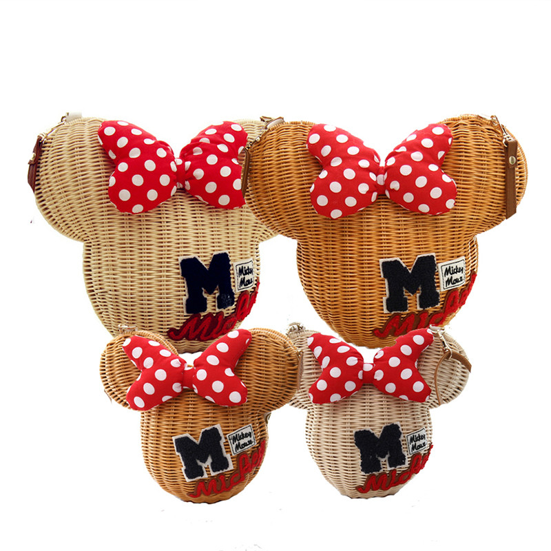 Nouveau Style Minnie Mouse fait à la main en rotin sac bande dessinée sac à main pour femmes belle fille paille plage sac à bandoulière Vintage décontracté seau-in Bandoulière Sacs from Baggages et sacs    1