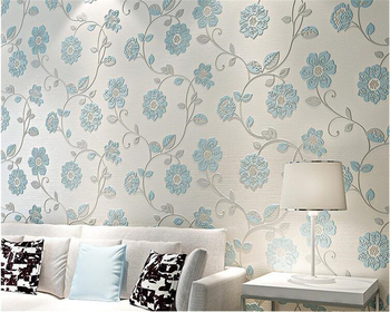 beibehang tapety elegant and fresh pastoral flower wall paper modern fashion bedroom living room backdrop nonwoven 3d wallpaper beibehang nonwoven 3d wallpaper European pastoral blue warm bedroom living room TV background papel de parede wall paper behang
