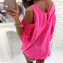 AVODOVAMA M 2018 Half Sleeve Lace Patchwork Shirts Off Shoulder Solid Tops New Casual Sexy Women Summer Chiffon Blouses(China)