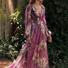 Women Boho Long Maxi Dress Sleeve V Neck Robe Dresses Sexy Flower Print