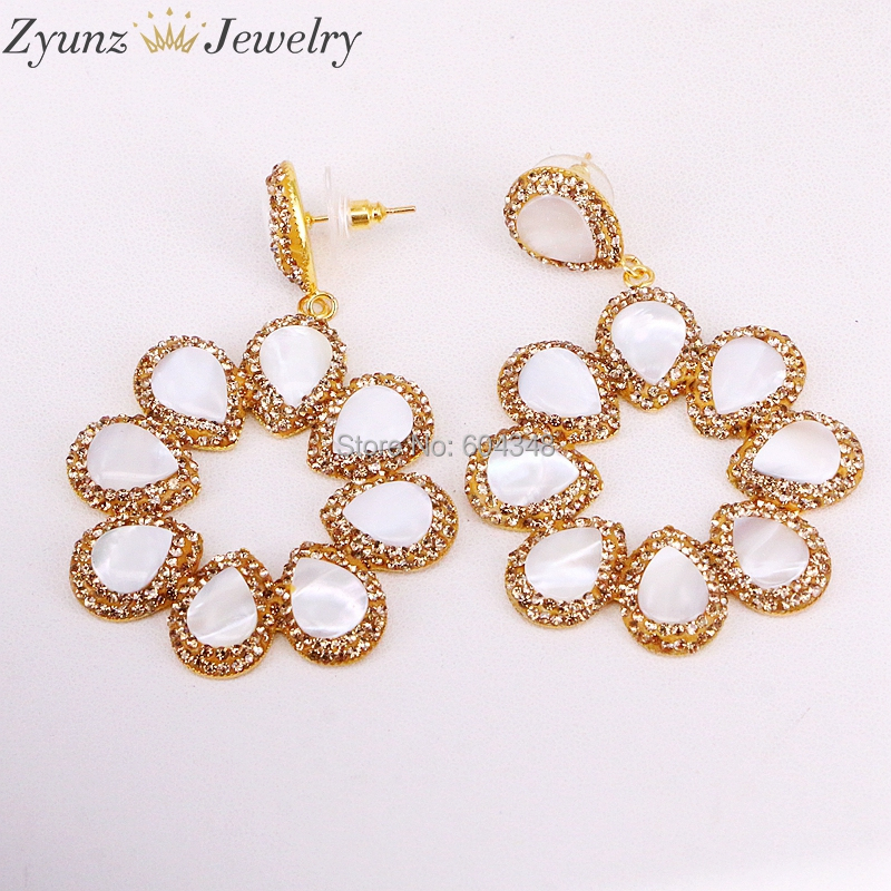 3Pairs ZYZ315-4768 Flower Shape Crystal Earrings Pave Rhinestone Earrings Gold Color Natural Shell Earrings For Lady Gift
