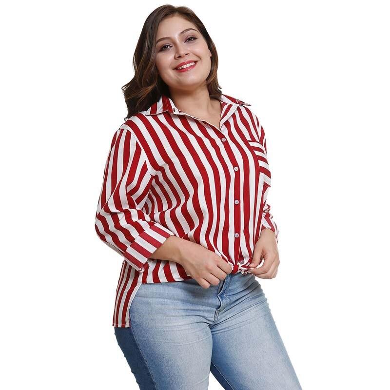 WHZHM Autumn Plus Size 3XL 4XL 5XL Vadim Tops Blouse Ladies Full Sleeve Pocket Casual Striped