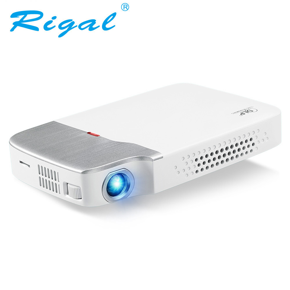 Rigal RD605 DLP Mini Projector Android 5.1 (Optional) WiFi Bluetooth 4.0 Battery HDMI Active 3D Video LED Projector 2500 Lumens