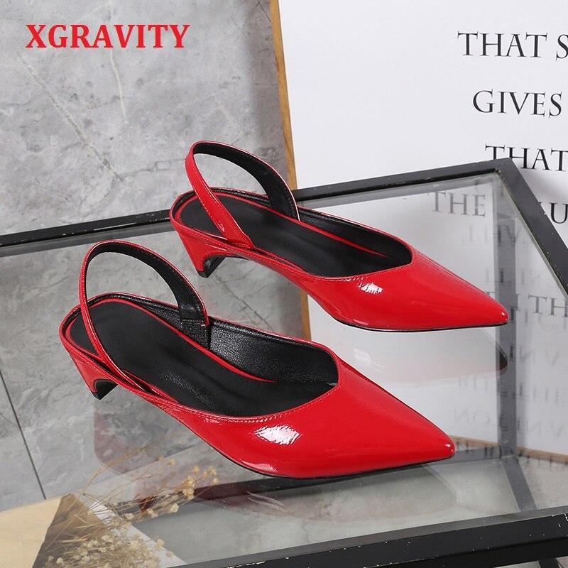 XGRAVITY cuir verni V Design mode bout pointu robe chaussure dames d'été femmes à talons hauts sandales talons étranges chaussures A131