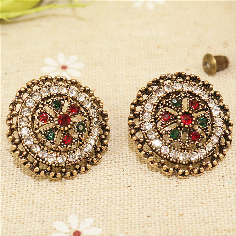 Owmen Retro Rhinestone Earrings Bohemian Romantic Cute Colorful Stone Stud Earrings