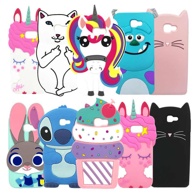 Capa de celular de silicone macia com desenhos em 3d, capa fofa de unicórnio e gato para samsung galaxy 2016 em 5 on5 j5 prime on capa 7 on7 j7 prime