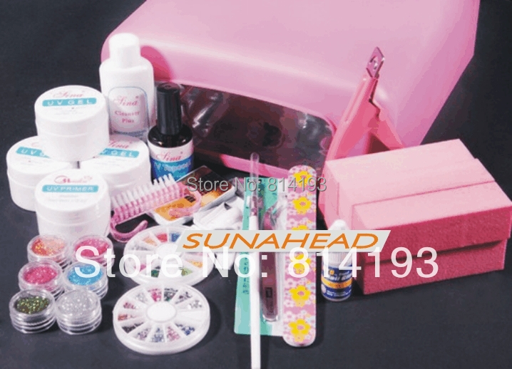 36W UV Gel Lamp Dryer Nail Art Manicure TIPS SET KIT Clipper Curing Salon Free Shipping em 123 free shipping pro full 36w white cure lamp dryer