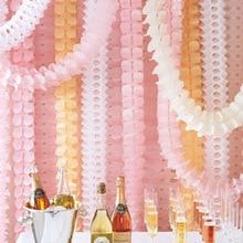 1Lot Διακόσμηση Γάμου Ροζ Χαρτί Πριγκίπισσα Χαρτί Garland Puff Ιστών Κήπος Γενεθλίων Party Backdrop Κρεμαστά Διακόσμηση Περίπου 3,5 εκατ.