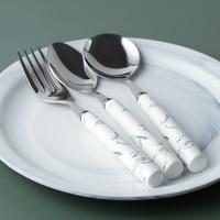 3pcs Cybil Marbled Design Stainless Steel Cutlery Set Fork with Ceramic Porcelain Handle Tableware Dinnerware Set 16-17cm