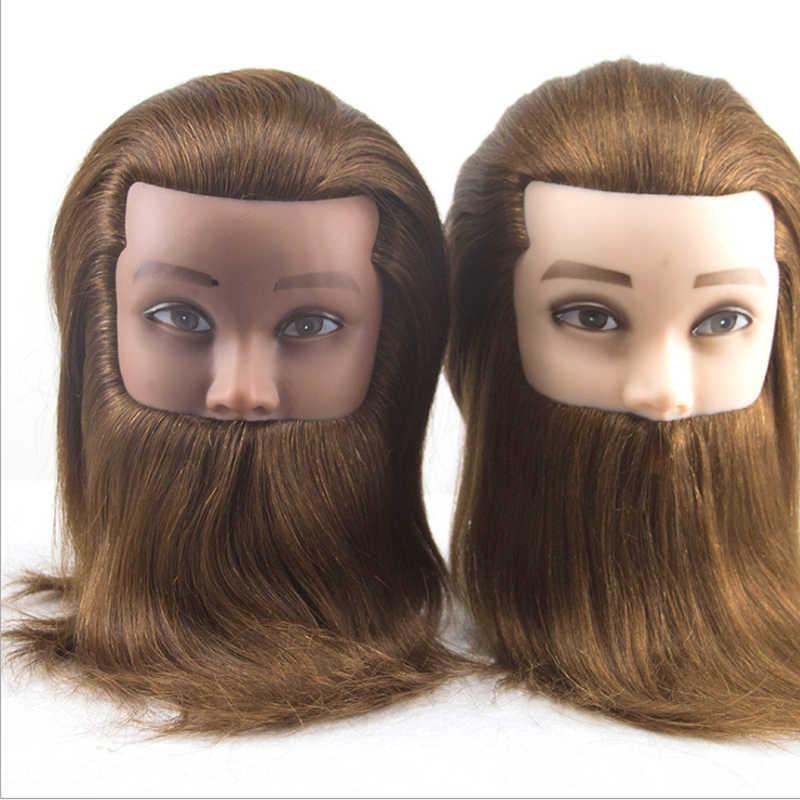 Мужской 100% настоящий человеческий манекен с волосами тренировочная голова с бородой Парикмахерская кукла-манекен голова для школы красоты