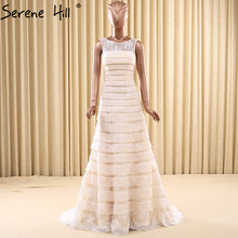 Champagne Simple Tiered Lace Wedding Dresses 2017 Sleeveless Fashion A-Line Bridal Wedding Gown Vestido De Noiva
