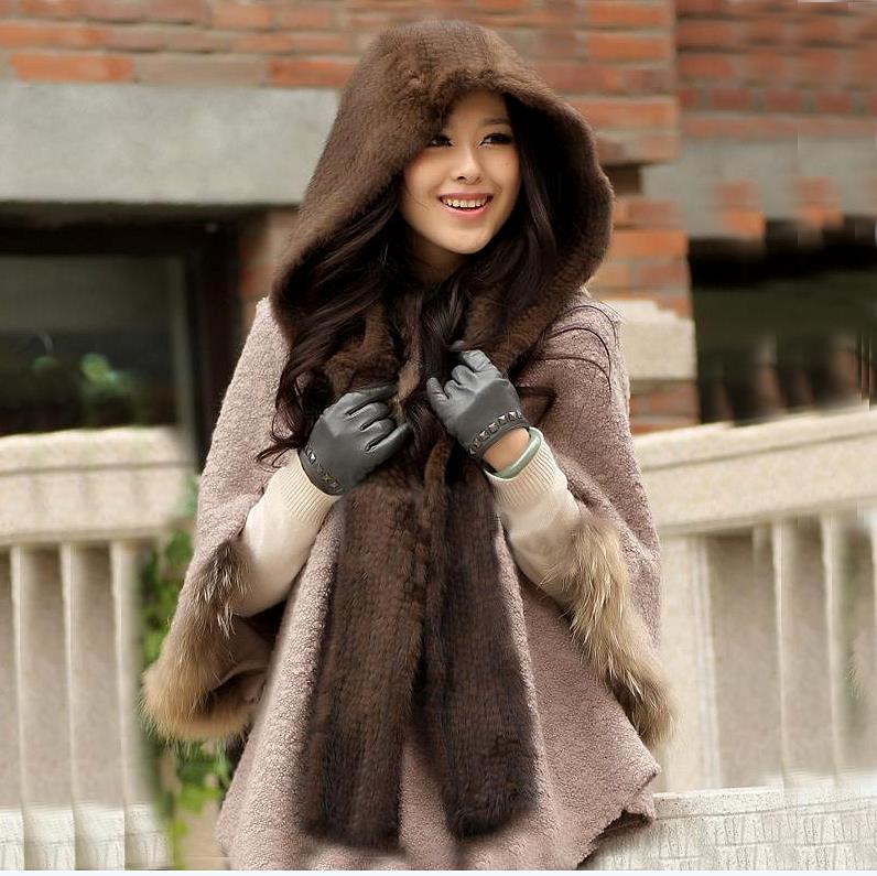ZDFURS * mode tricoté vison chapeau écharpe de haute qualité vison écharpe pour les femmes hiver cap écharpes